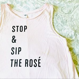 NWOT Old Navy Stop and Sip the Rosé Tank Top Pink